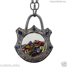 Blue & Multi Sapphire Gemstone Diamond Shaker Padlock Pendant Necklace Jewelry