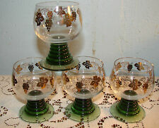 4 Green Beehive Stem VTG Cordial Glasses Gold Grapes (Schott Zwiesel Germany)