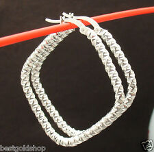 "1 1/2"" Diamond Cut Geometric Hoop Earrings Real 925 Sterling Silver 5.60gr"