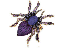 Antique Golden Amethyst Crystal Rhinestone Spider Vogue Stretch Ring