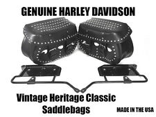 OEM Vintage Harley Davidson Heritage Classic Softail Leather Studded Saddlebags