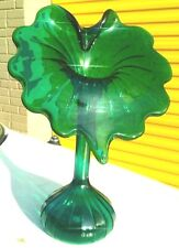 Vintage Hand Blown  Emeral Green Glass Jack in the Pulpit  style Vase . Rare
