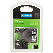 """DYMO D1 Flexible Nylon Label Maker Tape, 1/2in x 12ft, Black on White"""