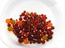 Vintage German Golden Amber Rootbeer Disco Faceted Mix Round Lucite Bead Lot