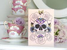 BED Of Roses SUGAR SKULL TATTOO GIORNO DEI MORTI a mano compleanno carta