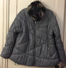 Light Weight Fall Winter Coat Parka Jacket Faux Fur Collar Lining Womens XL, XXL