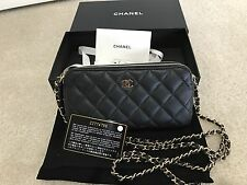 New! Rare Chanel Small Zippered Wallet On Chain Lambskin Gold HW Black WOC