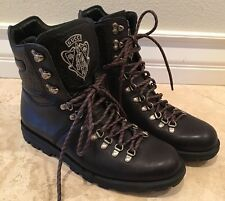 GUCCI Hysteria Logo Black Leather Rugged Hiking Motorcycle Boots 9.5M ITALY RARE