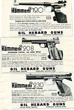1973 small Print Ad of Gil Hebard Hammerli 120 208 & 230 Pistol 3 DIFFERENT ADS