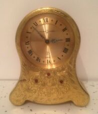 Vintage Swiss Reuge Mechanical Wind Up Musical Alarm Clock Gold Jeweled WORKING