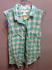 $65 New Jachs Girlfriend Brabd Sleeveless Green Flannel Button Down Shirt Size M