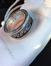 David Yurman Men's Sterling Silver Waves Band Ring 11mm Size 10.5