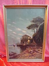 sublime,ancien Tableau__animée, méditerranée Paysage marin__Signé : 1910 __