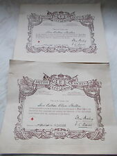 2 WW2 British Red Cross Society Certificates Dated 1938 Name of Miss E.L.Skelton