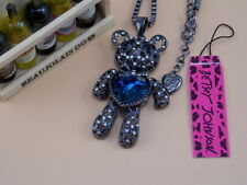 Betsey Johnson sparkling crystal blue gem Bear Pendant Necklace # F194A