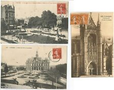 LOT 3 CPA postcard Square Jourdan HOTEL de Ville Porte Cathédrale LIMOGES 87 A