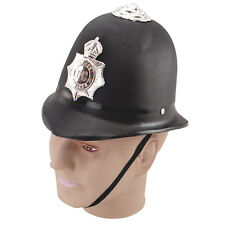 BLACK POLICE #HELMET HARD PLASTIC FANCY DRESS PARTY ACCESSORY