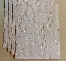 MOON, STARS, AND CLOUDS EMBOSSED FRONTS BACKGROUNDS, BABY ANNOUNCEMENTS, Cards