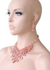 Peach Glass Bib Statement Evening Necklace Earrings,Pageant, Drag Queen, Bridal