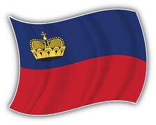 Liechtenstein Flag Waving Car Bumper Sticker Decal 5'' x 4''