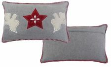 CHRISTMAS DOVES BIRDS OF PEACE WOOL EMBROIDERED RED GREY CUSHION COVER 35X50CM