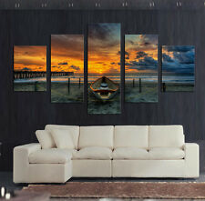 Not Framed Canvas Print Wall Art Picture Seascape Sunset Boat Bridge Beach Home
