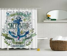 Blue Green Nautical Anchor Beach Fabric Shower Curtain Digital Art Bathroom
