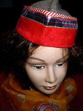 Original indische Folklore-Mütze gewoben m.Cordsamt mit Goldborte ganz gefüttert