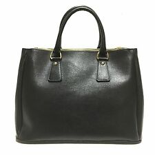 Borsa a mano nera shopping in saffiano tracolla handbag vera pelle made in italy