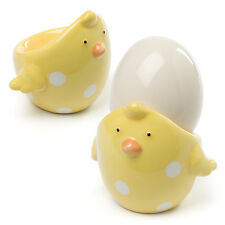 1 Peep Chicken Soft Boiled Egg Cup Tray Holder Server Yellow with Polka Dots