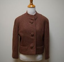 VTG 50s/60s Wm. H Block Co Brown Boucle Wool Boxy Cropped Suit Jacket Size S/M