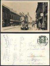 Czechoslovakia. Slany Husova street scene old real photo PC 1934