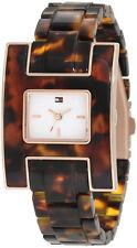 Tommy Hilfiger Women white dial tortoise resin bracelet watch 1781166
