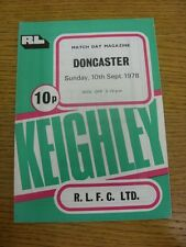 10/09/1978 Rugby League Programme: Keighley v Doncaster  (folded). Condition: We