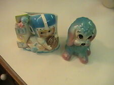 RARE VINTAGE FLOWER HOLDER MADE IN JAPAN 593 BABY BOY FOOTBALL + MATCHING DOG