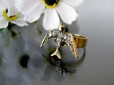 Adjustable vintage style bronze crystal bird charm ring