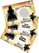 GOTH ALICE IN WONDERLAND PERSONALIZED SCRATCH OFF CARDS BIRTHDAY PARTY FAVORS
