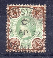 GB = QV 1887 4d Jubilee stamp with a `LONDON` Registered Oval cancel. Used.