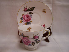 Vintage Royal Vale Tea Cup and Saucer  ENGLAND Bone China Pink Roses Gold Trim