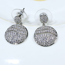 18K White Gold Filled Clear CZ Women Fashion Jewelry Lady Dangle Earrings E3733