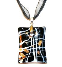 MN412L Black Rectangle Lampwork Glass Pendant Necklace with White & Gold Accents