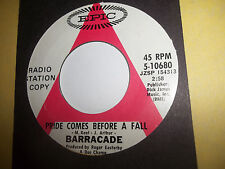 unplayed promo 45 barracade on a plane to nowhere / pride comes before a fall NM