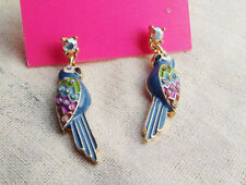 New Charm Colorful Enamel Glazed Cute Parrot Earrings Women Gold Plated Ear Stud