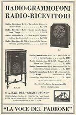 W7894 La Voce del Padrone - Listino Prezzi Grammofoni - Pubblicità del 1933 - Ad