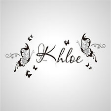 Wall Stickers custom Name large butterfly decal decor Nursery Vinyl home kids