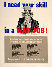 Original Vintage WWII Poster I Need Your Skill by J. Montgomery Flagg Uncle Sam