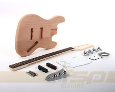 Solid Body DIY Electric Bass Guitar Builder Kit Project Mahogany Unfinished New
