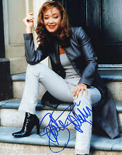 LEAH REMINI AUTOGRAPHED SIGNED 8X10 COLOR PRESS PHOTO IN LEATHER & BOOTS