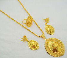 Yellow Gold Plated Indian Filigree Charm Pendant Chain Necklace Jewelry Set