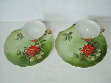 2 Lefton Poinsettia Snack Sets Cups Plates Limited Edition 4397 Porcelain China